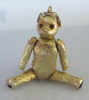 9ct Gold Pendant - 9ct Yellow Gold Articulated Teddy Bear Pendant (11.3g)