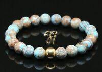 Herbst Jaspis 925er sterling Silber vergoldet Armband Bracelet Perlenarmband 8mm