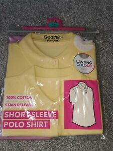 BN George School Girls 2 x Yellow Short Sleeved Cotton Polo Shirt Top 5-6 Years