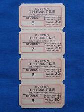 Vintage 30 Cent Elstun Theatre Tickets (Strip of 4) Drive-In Movie/Cinema - OH