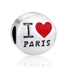 """I Love Paris's Charm-Argento European Charm-Amore Gioielli Paris"