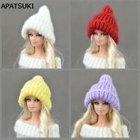 Doll Accessories Warm Headwear Hairwear Woven Knitting Hats for Barbie Doll Hat