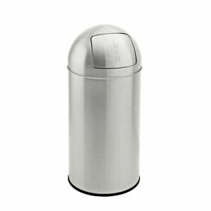 Evre Stainless Steel Round Push Bin With Removable Inner Bucket