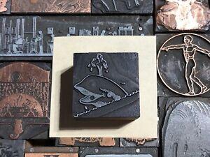 Antique VTG Wood & Metal Whale Fish Letterpress Print Type Cut Ornament Block