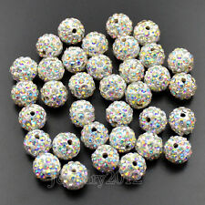 Top Quality Czech Crystal Rhinestones AB Color Pave Clay Round Disco Beads 10mm