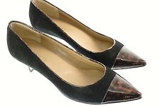 Talbots Heels Pumps 7.5 B Black Suede Leather Brown Animal Print Pointy Toes 43