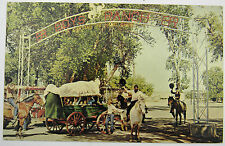 50's CAL FARLEY'S BOYS RANCH Post Card w/ Black Cowboy on White Horse Very Good