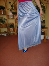 China Blue Silky Lace Hem Long Formal length Half Slip Petticoat M-L-XL BNIP