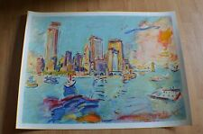 "Wayne Ensrud "" View From Governors Island "" Original Lithograph Hand Signed 1980"