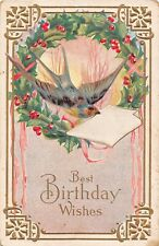Wreath of Holly Around a Flying Swallow on 1911 Birthday PC-Dove & Bird Series