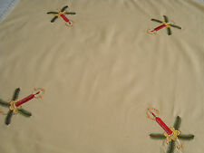 Vintage Christmas Xmas Embroidered small Tablecloth with Candles & fir branches