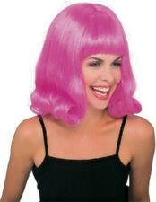 Womens Pink Flip Wig Retro 60s Bangs Big Hair Sixties Costume Fancy Dress Adult