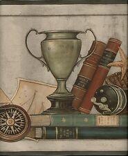 David Carter Brown Nautical Items on Shelf, Books,Fishing Mens Wallpaper Border