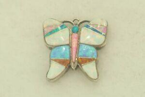 Calvin Begay Sterling Silver Native American Multi Stone Butterfly Pendant GU414