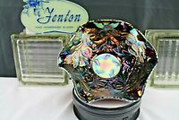 "Fenton Art Glass-Amethyst Carnival Glass 8.5"" Bowl Heart and Vine Pattern 1970's"