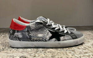 GOLDEN GOOSE Mens Super Star Snake Sneakers Grey Python Black Red 46 / 13 US NEW