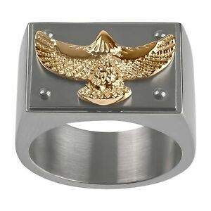 Men's Embossed Eagle Ring in Two-Tone Stainless Steel