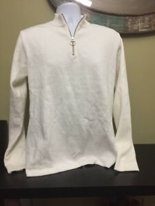 4A) Zara Mens Mock Neck Half Zip Cream Sweater Size Large New With Tags Free S&H