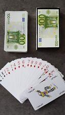 Jeu de carte plastifiées ,jeu de 54 cartes billet à jouer, 54 cartes billets €
