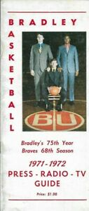 1971-72 BRADLEY BRAVES BASKETBALL media guide, CHARLES ORSBORN, Excellent