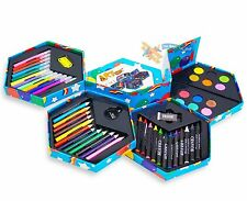 52 PCS Kids Children  Craft Art Set Crayons Paints Pens Pencils Hexagonal Box
