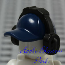 NEW Lego Minifig Dark BLUE BASEBALL CAP Sports Hat Head Gear w/Music Ear Phones