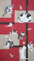 Noren Japanese hanging curtain Red color Cute Neko cat 150*85cm made in  japan