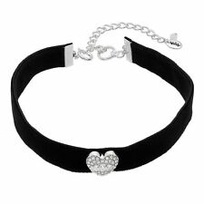 JUICY COUTURE silver tone Heart Black Faux Suede Choker Necklace NEW
