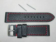 24mm men's genuine leather watch band strap black red stitches buffalo grain