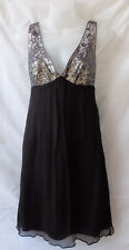 Size 6- 8 Seduce Dress 100% Silk Black + Sequin Summer Party Evening Club Event