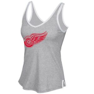 "Detroit Red Wings Reebok ""Fractal Shimmer"" Logo Grey V-Neck Tank Top Women's"