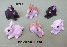 lot de 6 lapins,miniatures maison de poupée, vitrine, konijn, rabbit 2 CL2