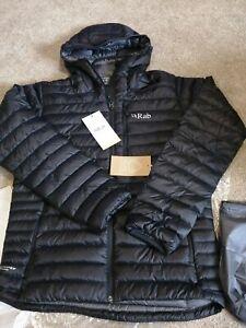 RAB Mens Black Microlight Alpine Hooded Outdoor Down Jacket Medium BNWT