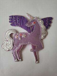 Unicorn Iron On Patch Motif Purple Cute Stars 12cm x 12cm Kids Girls Dress Ups
