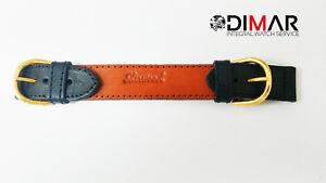 Band / Gurt / Uhrarmband Leder Doppel Schnalle Schwarz/Marron 18mm