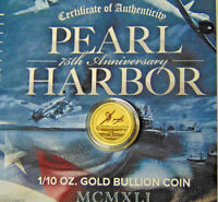 2016-P $15 Pearl Harbor 75th Anniversary 1/10 oz .9999 Fine Gold Perth Mint