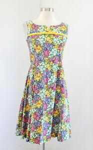 Vtg 70s Inspired Floral Tie Flared Dress Size S / M Bow Retro Spring Sleeveless