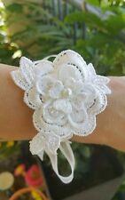 CORSAGE Wedding FLOWER GIRL BRIDE BAPTISM COMMUNION Lace Ivory Bracelet Jewelry
