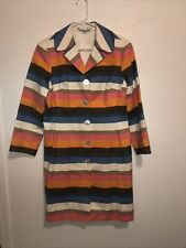 Trina Turk Coat Gorgeous 70's Inspired  Striped Orange Pink Blue Cream Brown 10