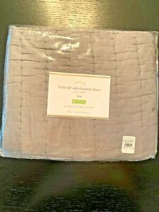 POTTERY BARN TENCEL SILK CHANNEL PILLOW SHAM - KING - Gray - NEW