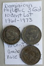 3 Coin Lot 1961 1967 1973 Dominican Republic 10 Centavos Coins One Silver K36