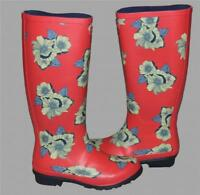 London Fog Thames Salmon Color FLORAL Tall Rubber Rain Boots w/Heel Wms 8 NEW