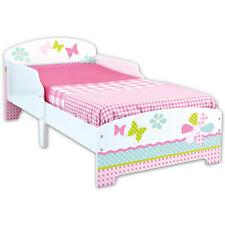 Kinderbett 140x70cm Jugendbett Juniorbett Bett Kinder Holz Blumen weiß rosa