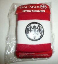 Bacardi Rum Wristband Set Red and White W Bat Logo Sweat Band Bracelet Wrist