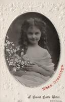 VINTAGE EMBOSSED REAL PHOTO BEAUTIFUL GIRL with FLOWERS POSTCARD - to Norwood SA