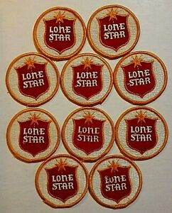 """Lone Star Beer 2"""" Embroidered Sew-On Patch, LOT OF TEN, Original, Vintage"""