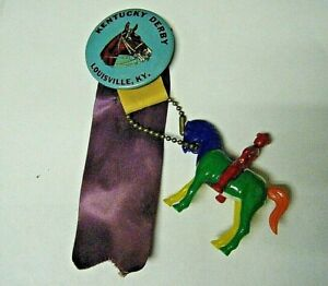 Vintage 1960s Horse Button Pin with Horse Puzzle Key Chain Kentucky Derby Ribbon