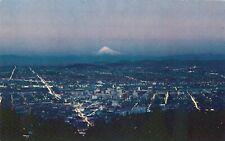 Vintage Oregon Chrome Postcard Portland at Dusk Aerial View Mt Hood