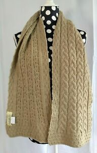 IRELANDS EYE Beige 100% MERINO WOOL Cable Knit SCARF, Immaculate!