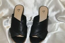 H&M Hennes & Mauritz Shoes Sandals Mules Chunky Heel Navy US 8 EUR 39 Preowned